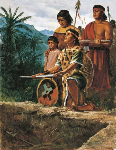 The Anti-Nephi-Lehies Burying Their Swords by Del Parson