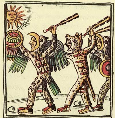 Aztec Warriors (Eagle Warrior at the left and Jaguar Warrior at the right) brandishing a macuahuitl (a wooden club with sharp obsidian blades). Image via Wikimedia commons.