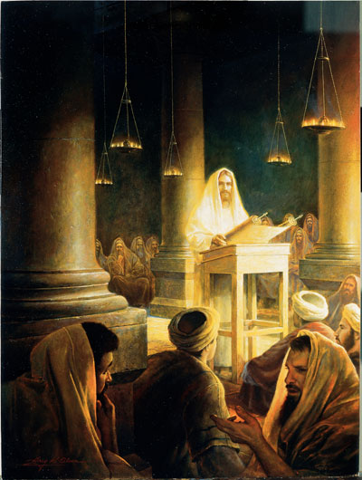 Jesus teaching in the synagogue by Greg Olsen