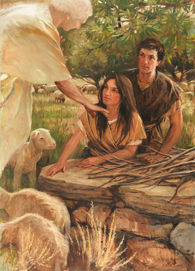 Painting of Adam and Eve being instructed in sacrifice by an angel. Painting by Walter Rane.