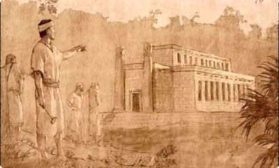 Image of Nephi constructing a temple after the manner of Solomon's temple. Image by Joseph Brickey.