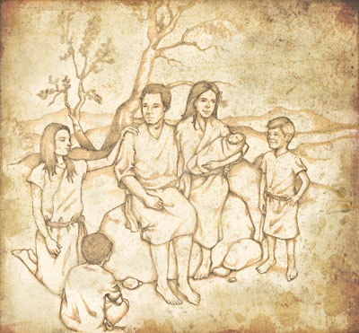 The family of Adam and Eve. Illustration by Jody Livingston.