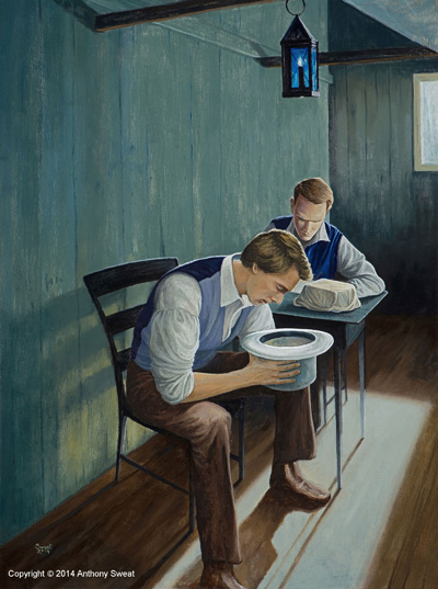 Joseph Smith Translating the Plates. Painting by Anthony Sweat.
