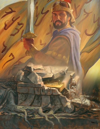 Mormon's editing of the plates reflected his admiration of Captain Moroni. Paintings by James Fullmer.