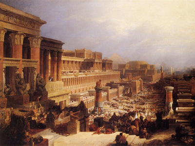 Departure of the Israelites by David Roberts, 1829. Image via Wikimedia Commons.