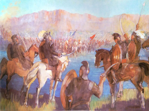 Battle at the River Sidon by Minerva Teichert.