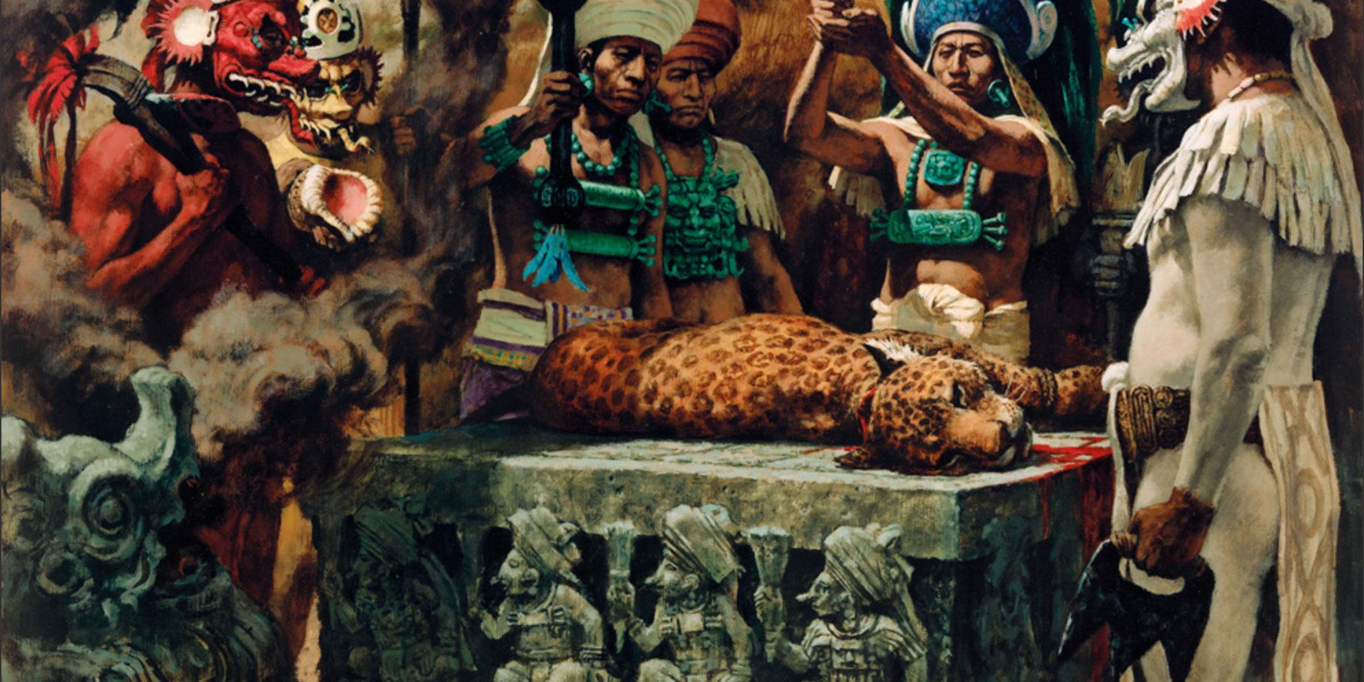 Prêtre Maya Sacrifice Et Pyramide Illustration de Vecteur ...  |Maya Sacrifice Stamp