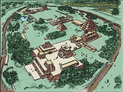Illustration of a fortified Nephite city adapted from Glenn A. Scott's Voices from the Dust.