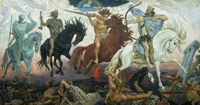 At the end of times, Christ will come with his shafts and arrows to save the just and destroy the wicked. Four Horsemen of the Apocalypse by Viktor Vasnetsov. Image via Wikimedia Commons.