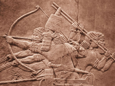 Stone Relief of Assyrian archers shooting 'shafts in the whirlwind'