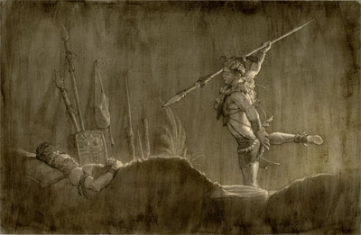 Teancum Slaying Amalickiah by Joseph Brickey