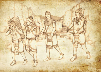 Image depicting Mesoamerican warriors carrying their packs of supplies on their backs. Image by Jody Livingston.