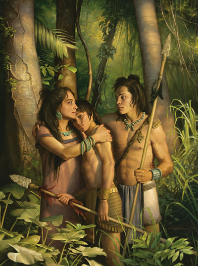 Painting of young, stripling warriors by Joseph Brickey