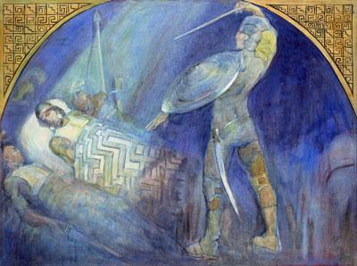 Death of Amalickiah by Minerva Teichert
