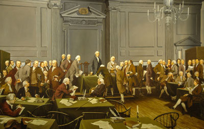 Modern societies call for civility and patience rather than force or compulsion. Signing of the Constitution by Louis S. Glanzman.
