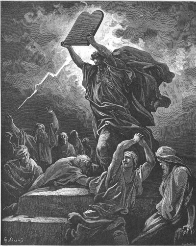 Moses Breaks the Tables of the Law by Gustave Dore. Image via Wikimedia Commons.