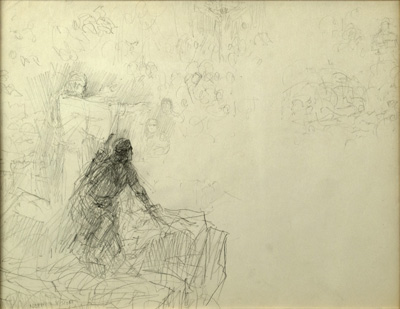 A sketch by Arnold Friberg of Nephi's Vision by an angel.