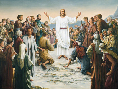 Jesus Christ invites all to come unto his love and mercy.  Jesus Appearing to the Five Hundred by Grant Romeny
