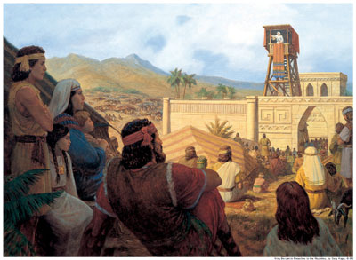 King Benjamin Preaches to the Nephites by Gary Kapp. Image via lds.org