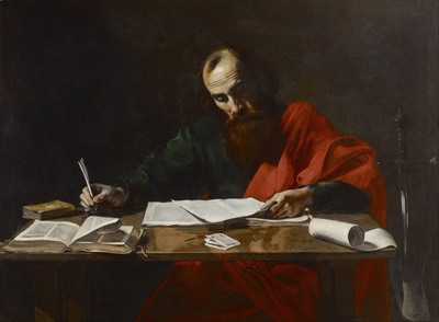 Giddianhi's epistle mirrors ancient epistle-writing style. Saint Paul Writing His Epistles by Valentin de Boulogne.
