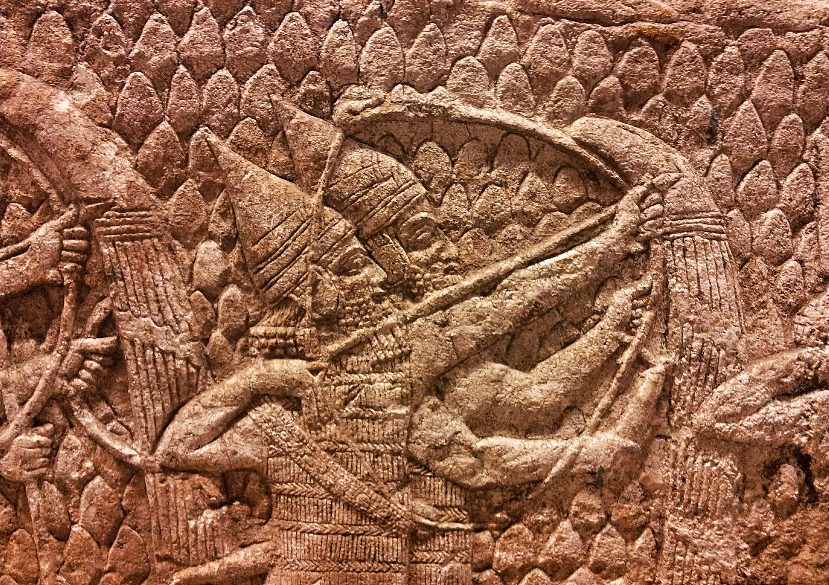 Assyrian relief of archers in battle
