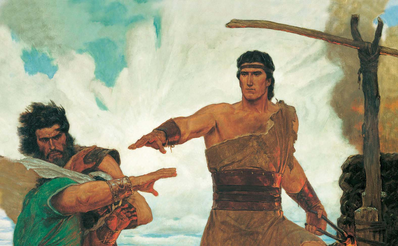 Nephi Subduing his Brothers by Arnold Friberg