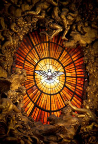 The Holy Spirit stain glass from St. Peter's Basilica