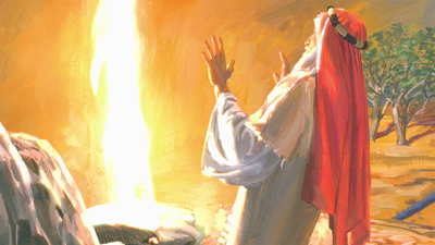 Lehi's vision of God in a pillar of fire. Image via lds.org