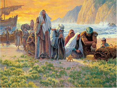 Lehi and his family arrive at the promised land. Artist unknown.