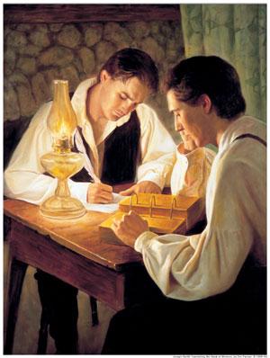 Joseph Smith Translating the Book of Mormon by Del Parson
