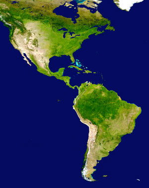 Satellite image of the Americas. Image via Wikimedia Commons