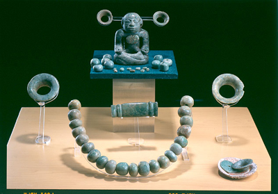 Jadeite jewelry from the Pyramid of the Moon, Teotihuacan, ca. 400-500. Image via mesoweb.com