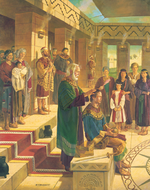 King Benjamin Confers the Kingdom on Mosiah by Robert T. Barrett