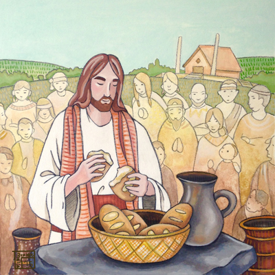 Christ Administering the Sacrament in America by Brooke Malia Mann