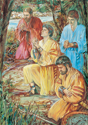 Four Sons of Mosiah Kneeling in Prayer by Harold T. Dale Kilbourrn