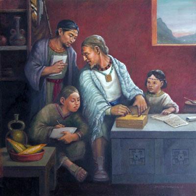 Rey Benjamin ensesña a los hijos by Jorge Cocco