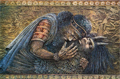The ancient near eastern Epic of Gilgamesh contained examples of chiasmus. Painting of Gilgamesh and Enkidu. Artist unknown.