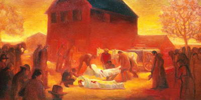 Painting of the martyrdom of Joseph and Hyrum Smith by Gary Ernest Smith
