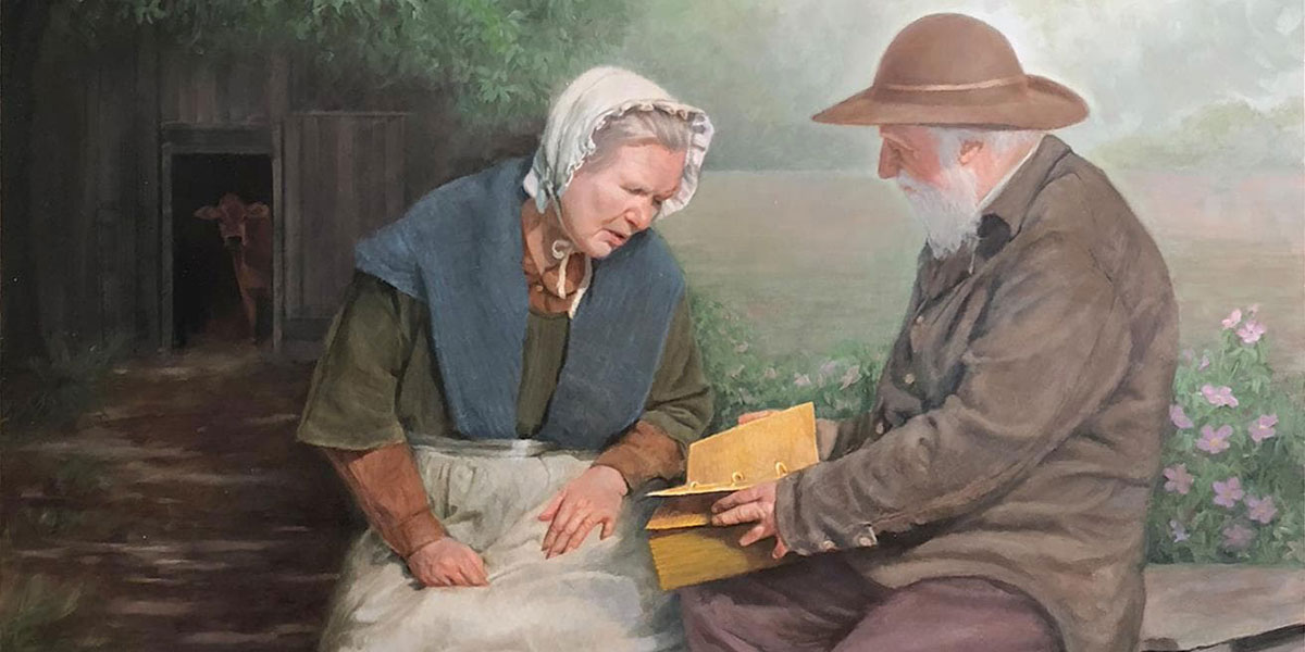 """Mary Whitmer and Moroni"" by Robert T. Pack"