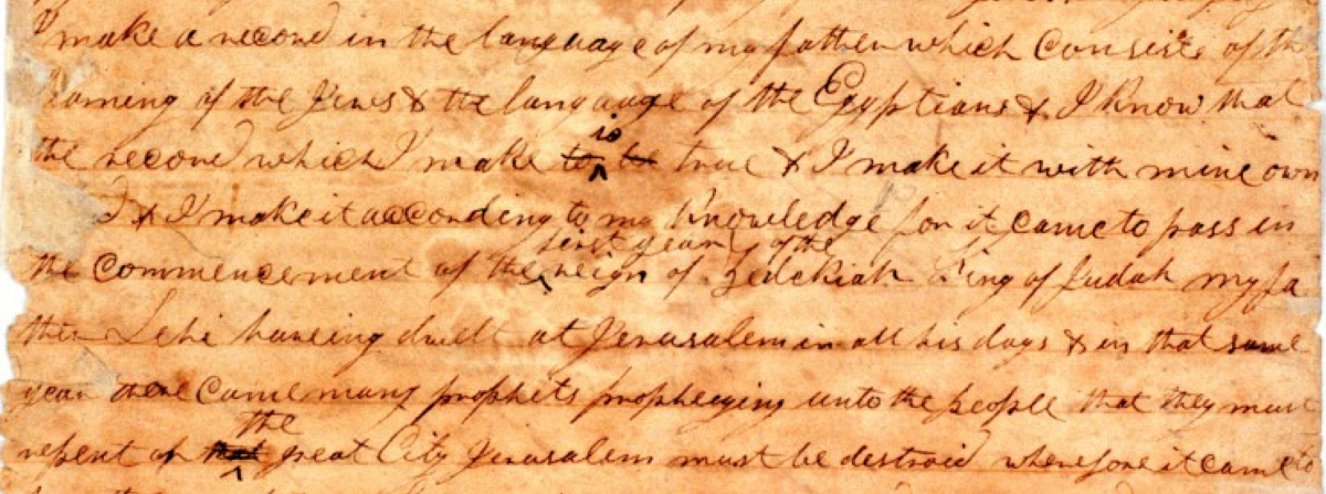 Excerpt from the Printer's Manuscript via The Interpreter Foundation