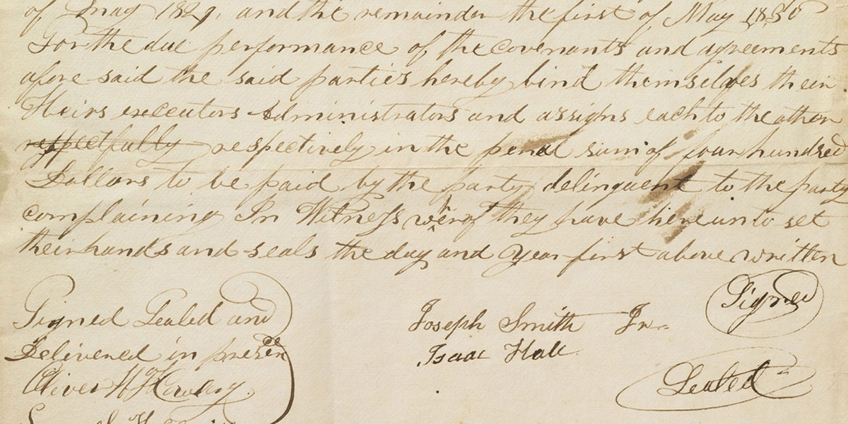 Agreement with Isaac Hale from the Joseph Smith Papers