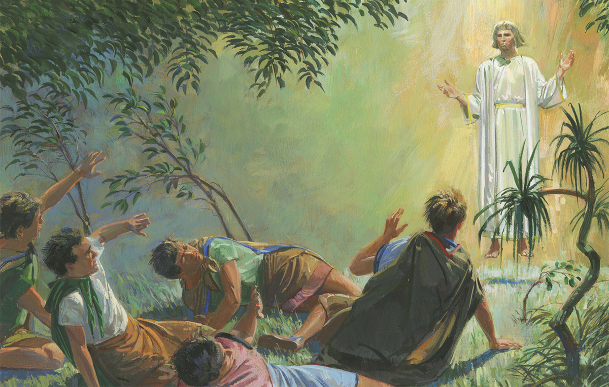 """Angel Appears to Alma and the Sons of Mosiah"" by Jerry Thompson via Gospel Media Library"