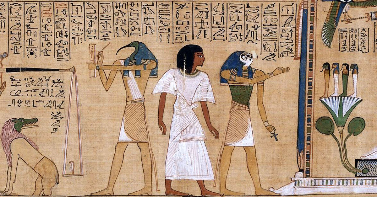 Detail of a judgment scene in the Book of the Dead, Papyrus of Hunefer. Image via Wikimedia Commons.