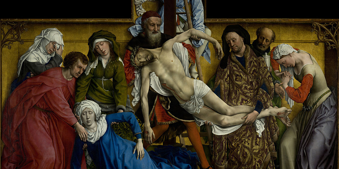 Rogier van der Weyden. The Descent from the Cross. (c.1435) Museo del Prado, Madrid via Wikipedia.