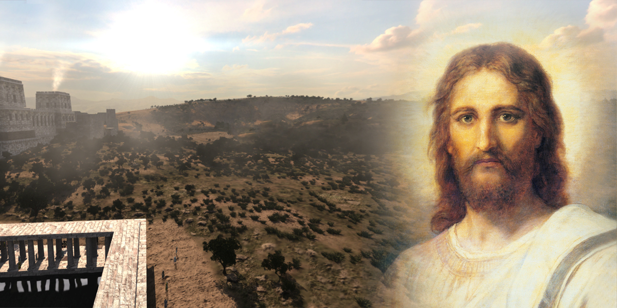 Image of Calvary from BYU's Virtual Scripture's App and Christ's Image by Heinrich Hofmann