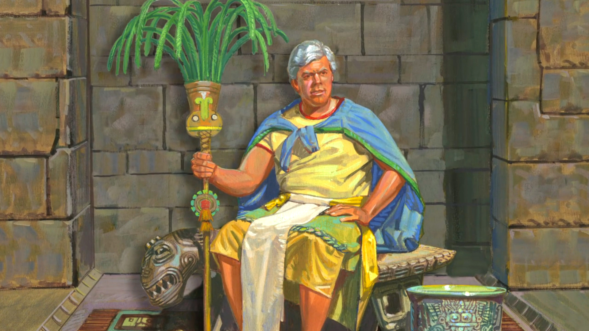 King Limhi Sitting on his Throne. Image via lds.org