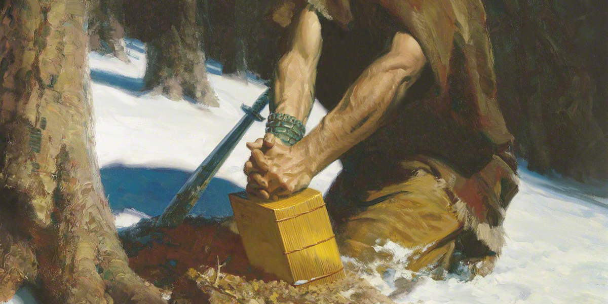 Moroni Hides the Plates in the Hill Cumorah (Moroni Burying the Plates), by Tom Lovell