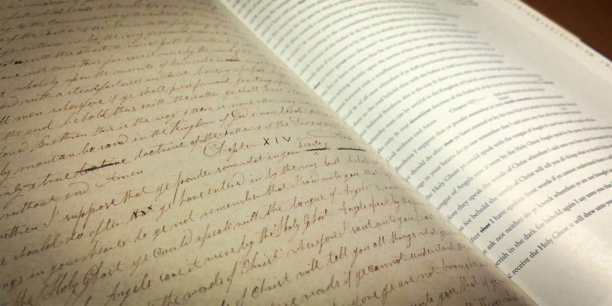 Facsimile of the Printer's Manuscript. Photograph by Book of Mormon Central