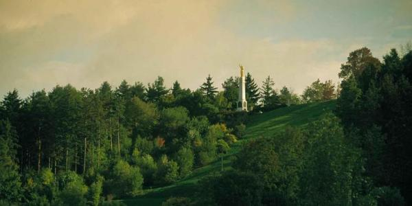 The Hill Cumorah with Angel Moroni monument, via history.lds.org.