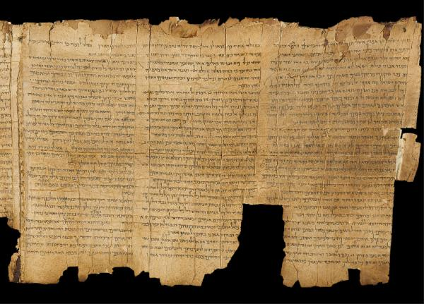 Dead Sea scrolls shown in Amman Archaeology Museum. Image via Wikimedia Commons
